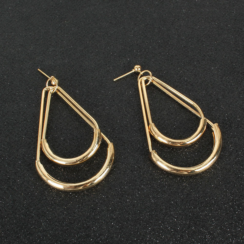 fashion retro alloy dropshaped double gold earrings wholesale NHCT258070