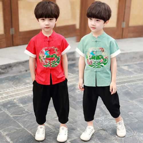 Cotton linen children boys Hanfu chinese tang suit short sleeve boy's  Dragon Phoenix wushu performance suit for kids