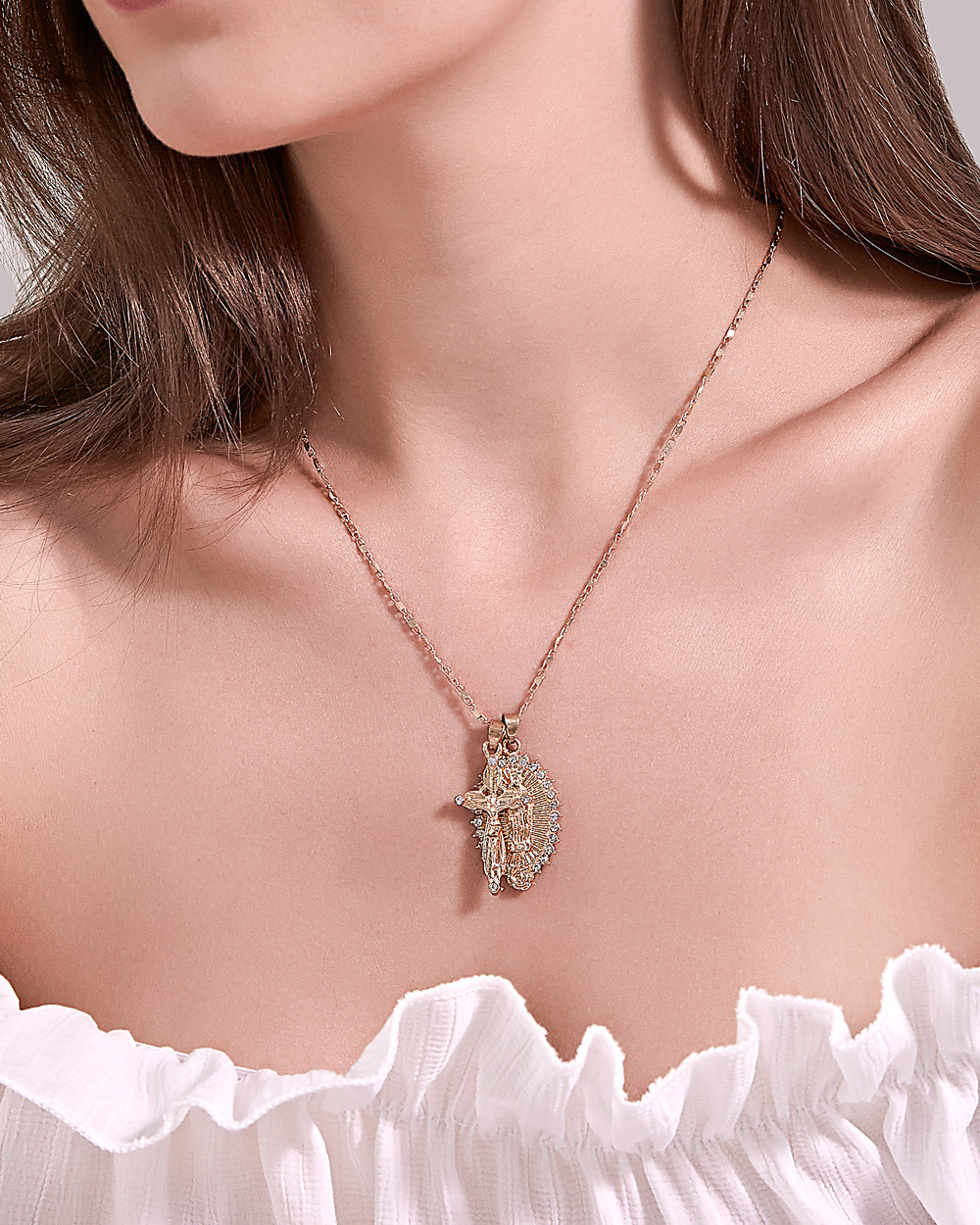 catholic crucifixion Christian cross necklace Virgin Mary double pendant necklace wholesale nihaojewelry NHDP233632