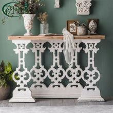 法式复古客厅桌子置物台个性做旧民宿装饰家具创意雕花实木玄关桌