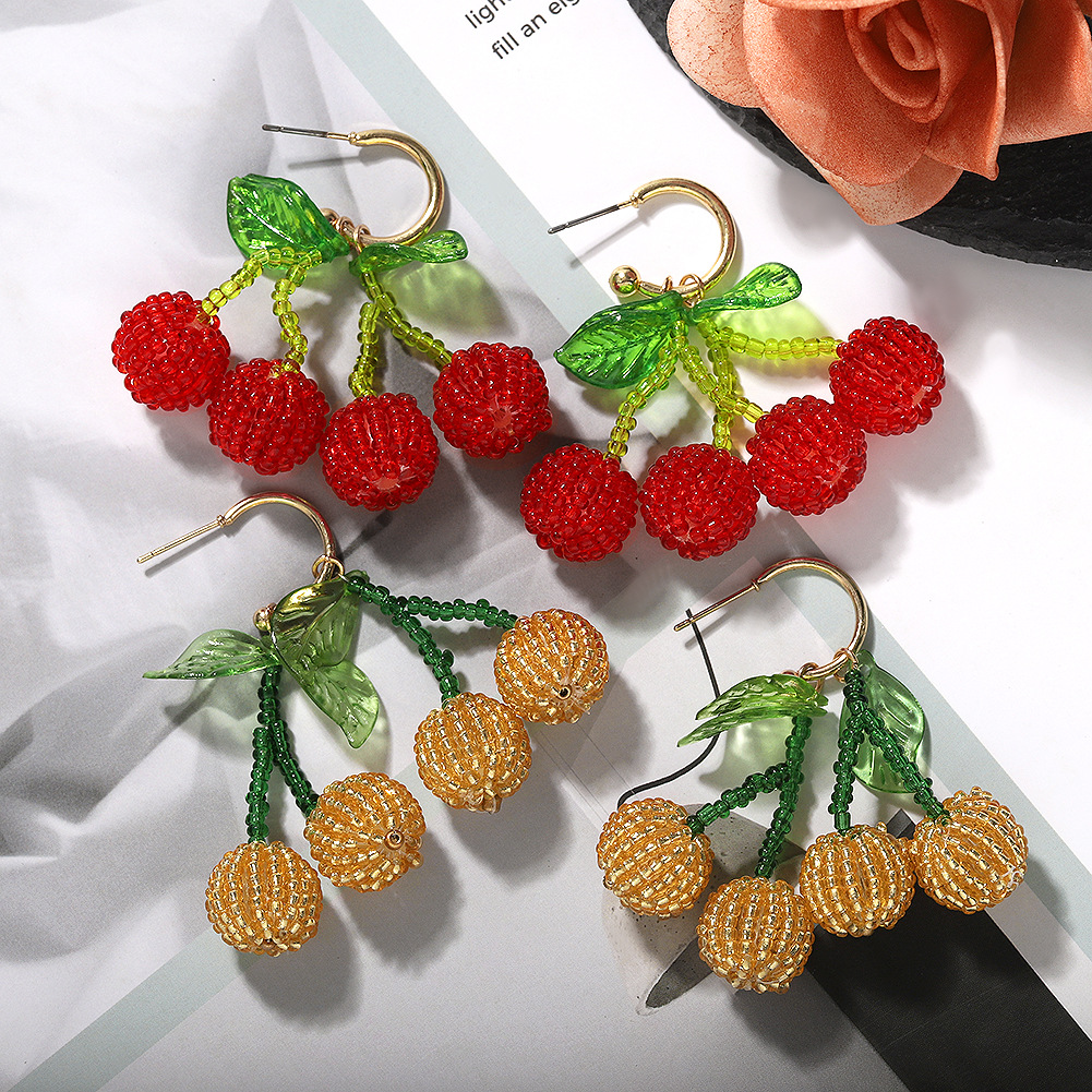 Jewellery for women Handmade Beaded Transparent Leaf Earrings cheap Fashion Cherry Earrings wholesales fashion NHJQ202607