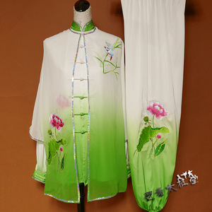 Tai chi clothing chinese kung fu uniforms Lotus embroidered green and white gradually changing Taifu training clothes