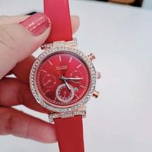 童盛新款潮流时尚女士手表带日历水钻镶钻皮带女表仿六针石英表
