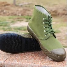 批发 农田高帮黄球鞋 平底解放鞋 军绿色帆布鞋 劳动鞋