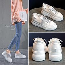 厚底增高小白鞋女2020新款潮流百搭網面透氣鏤空休閑產地貨源鞋子