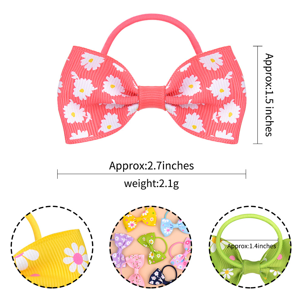 Children's ribbed ribbon bowknot hair rope solid color printed daisy hair tie NHMO296027