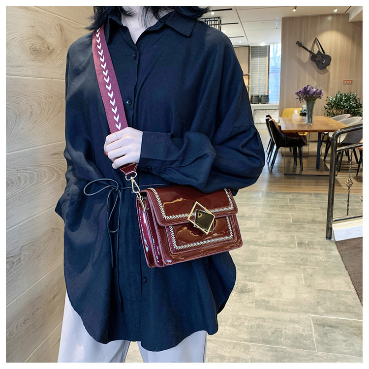 Patent leather shiny women's bag new season wide shoulder strap messenger bag fashion casual small square bag NHTC195544