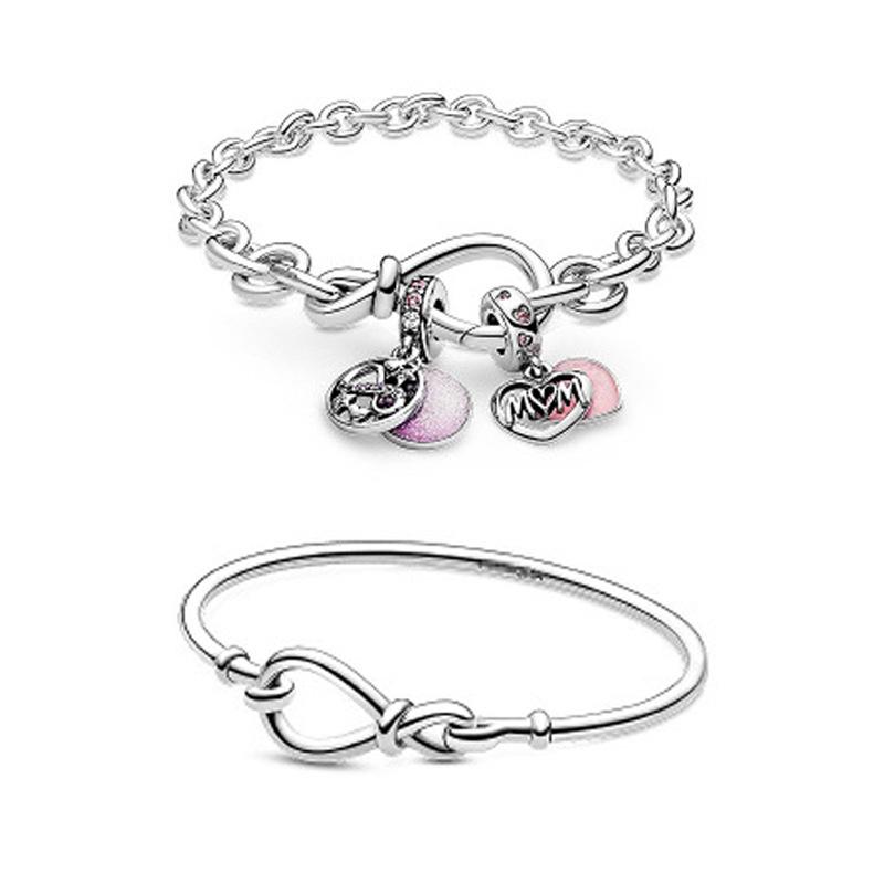 潘家s925纯银新款母亲节永恒符号花结手链手环配件珠子DIY饰品