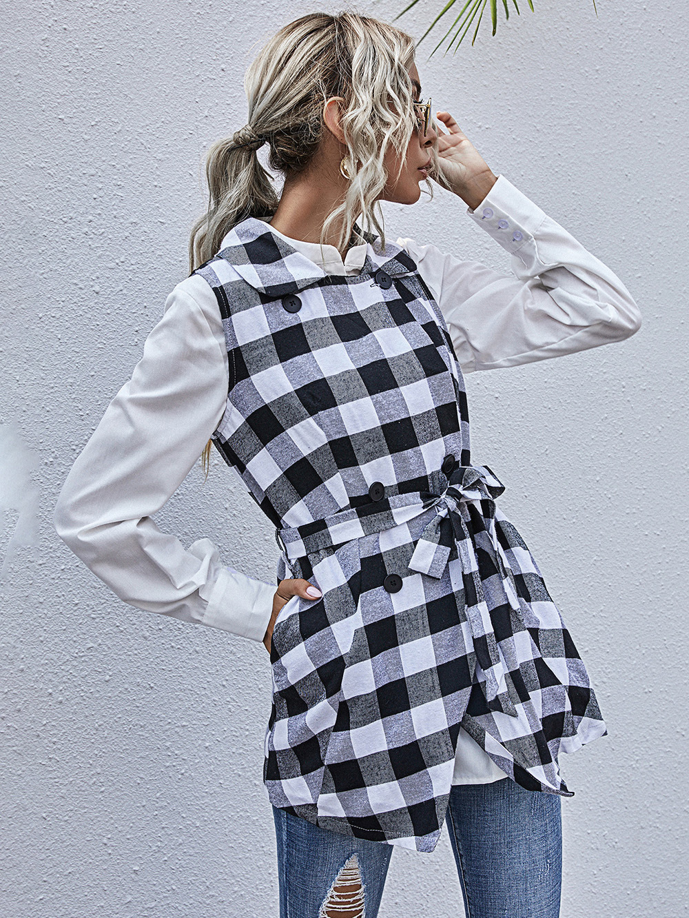 irregular hem sleeveless top plaid jacket NSDF1585