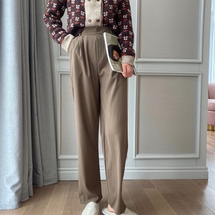 【Wide-leg suit trousers】Spring women's dress anchors take the goods to look thin, any plus size casual wide-leg pants women