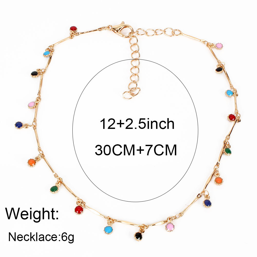 boho color small water droplets clavicle chain fashion simple color necklace wholesale nihaojewelry NHCT232279