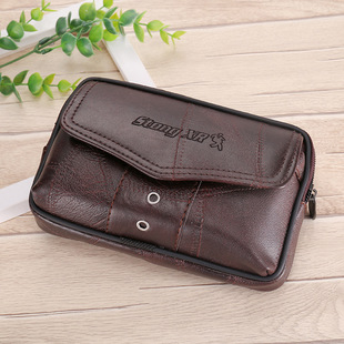 New style men's leather 6.5-inch large-capacity belt pocket mobile phone bag construction site men's coin purse cigarette pack