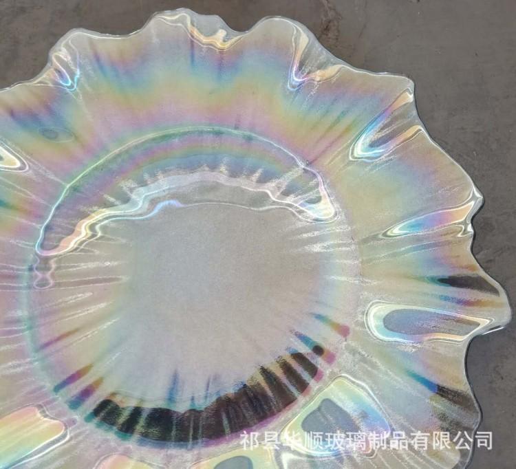 七彩电镀玻璃盘 多角盘 银色西餐垫盘 13英寸玻璃盘