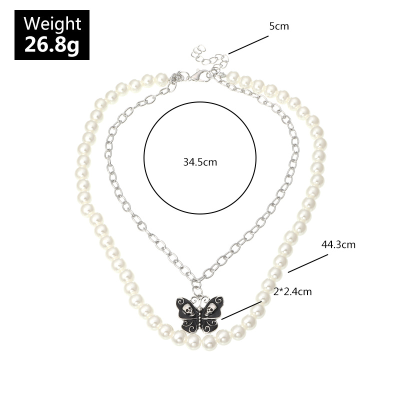 fashion jewelry pearl butterfly double necklace clavicle chain retro jewelry wholesale nihaojewelry NHNZ232041