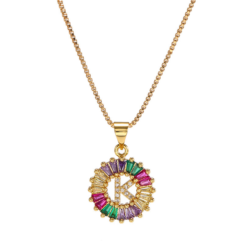 necklace creative necklace clavicle chain micro inlaid color zircon 26 letter necklace women NHJJ202755