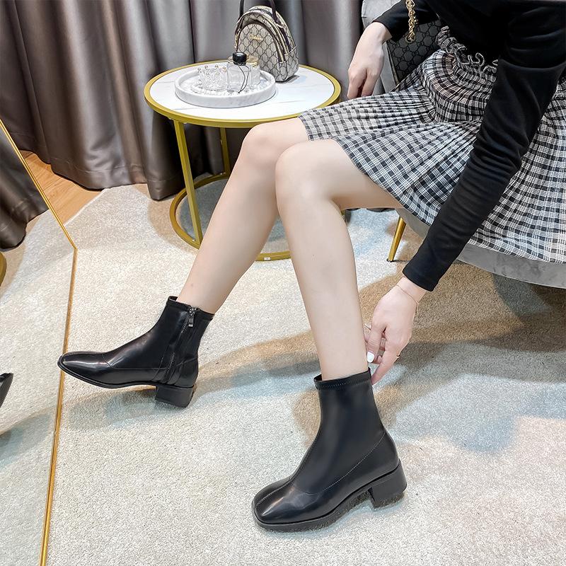 欧美英伦风复古靴子女纯色粗跟低筒马丁靴女2020新款侧拉链短靴