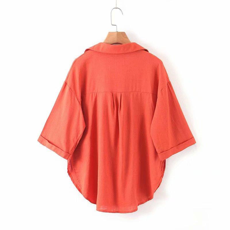 Fashion Wholesale spring shirt cotton linen women's loose top NHAM201496