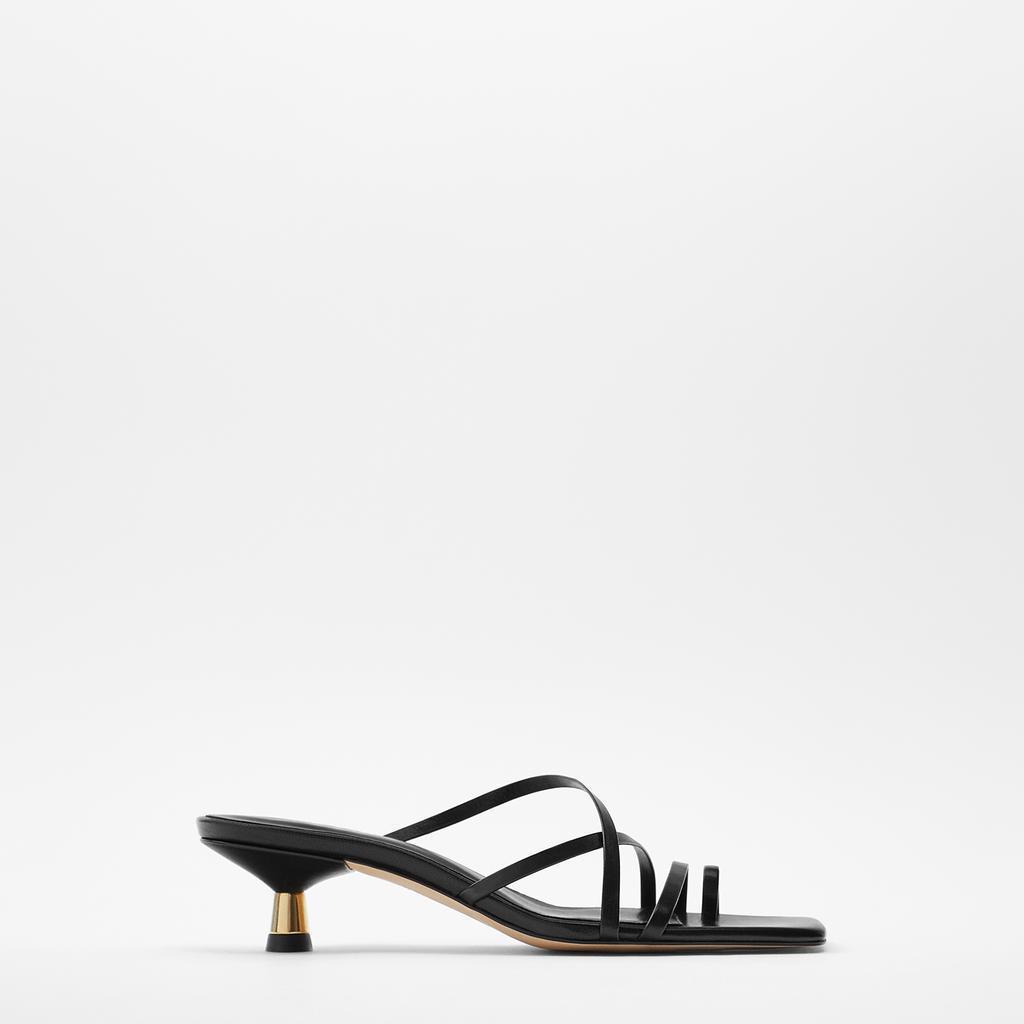 ZAR同款新款 女鞋 黑色金属系高跟羊皮革凉鞋