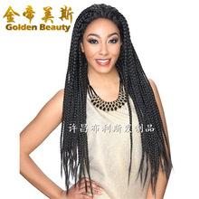 假發廠家現貨批發Lace wig前蕾絲三股辮子假發套 box braid large