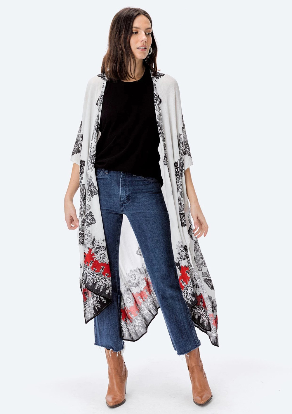 summer women s fashion printed cardigan loose casual beach vacation cover gown NSDF1483