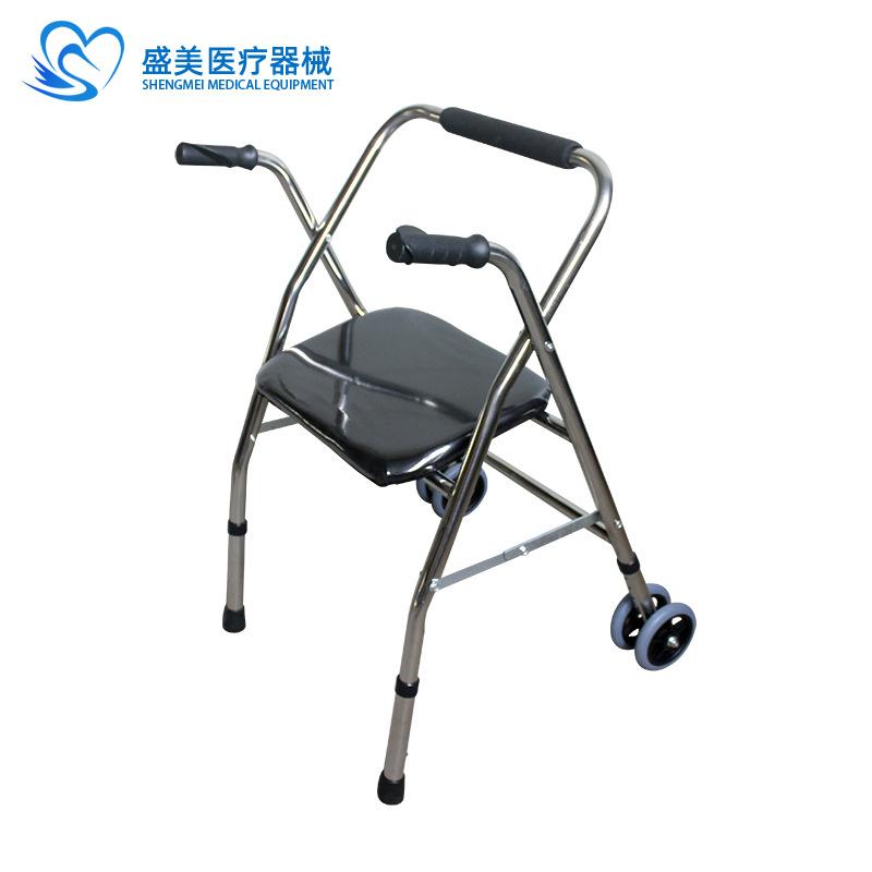 不锈钢老人轮座助行器 老人助步车折叠老人拐轮 量大从优