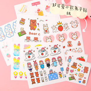 PET transparent cartoon anime mobile phone stickers cute girl heart simple notebook stickers props hand account material stickers