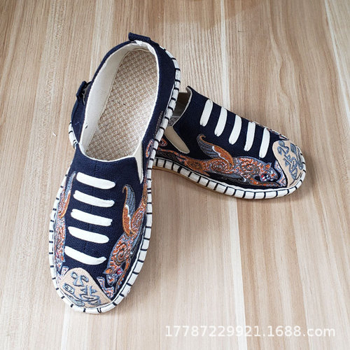 Hanfu chinese kungfu shoes Beijing Handmade clothing Shoes Men's Ethnic Embroidered Shoes Driving Soft Bottom Lazy Shoes