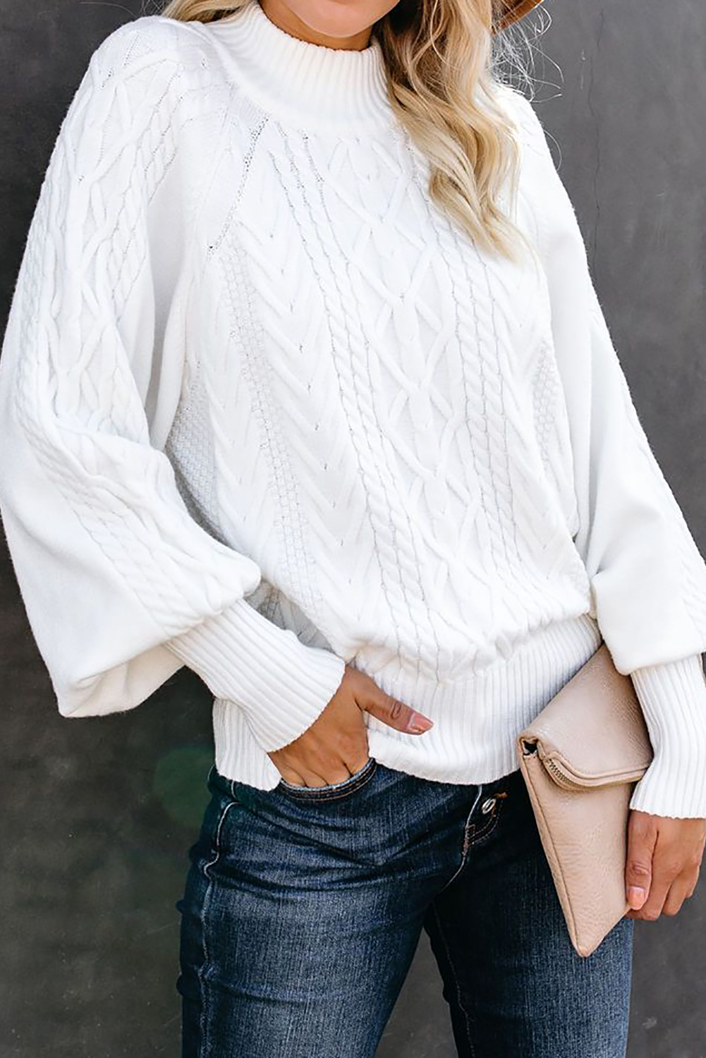 solid color loose half high collar lantern long sleeve pullover sweater NSSI3025