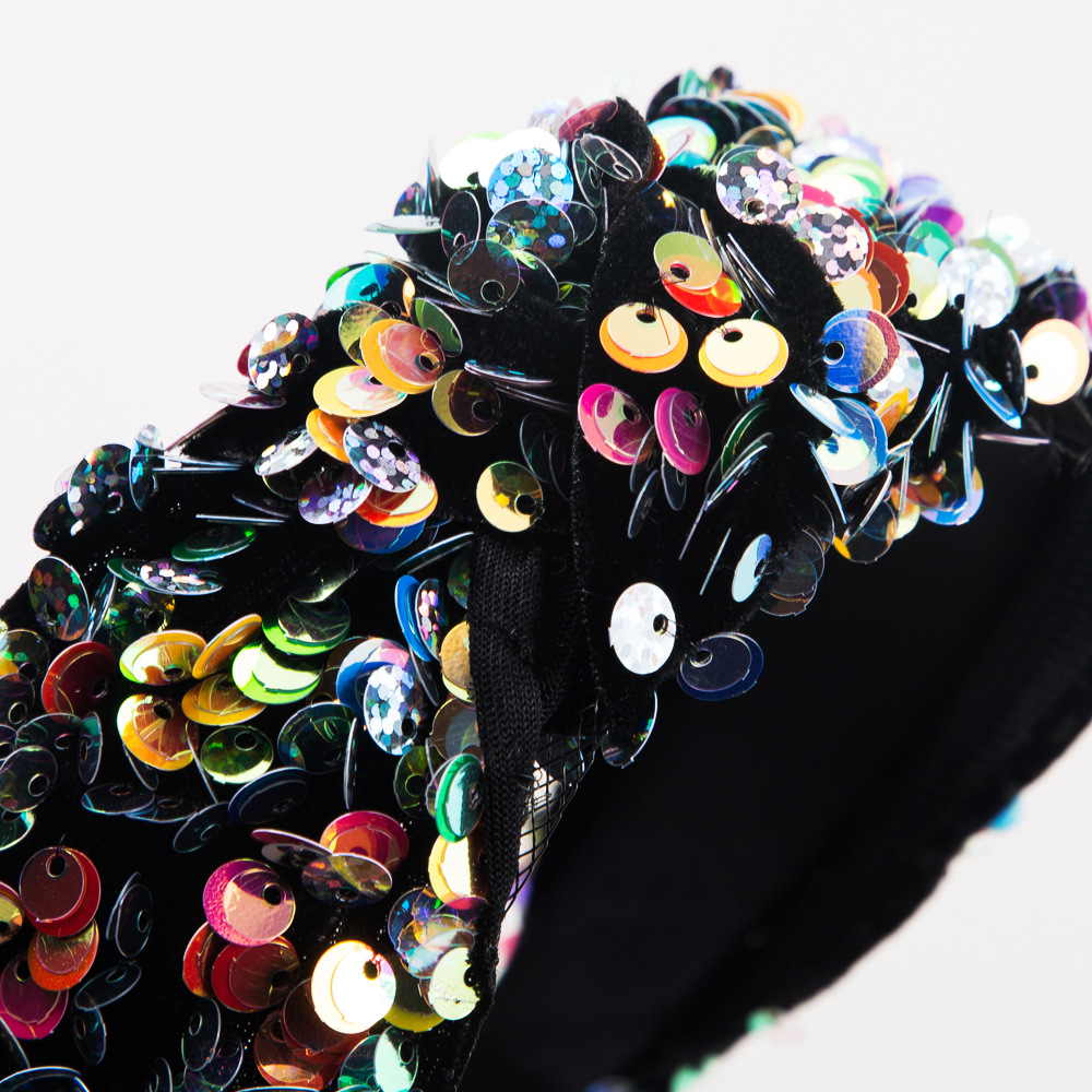 Fish scale sequin mesh gauze prom show catwalk wide headband suppliers china NHLN202569