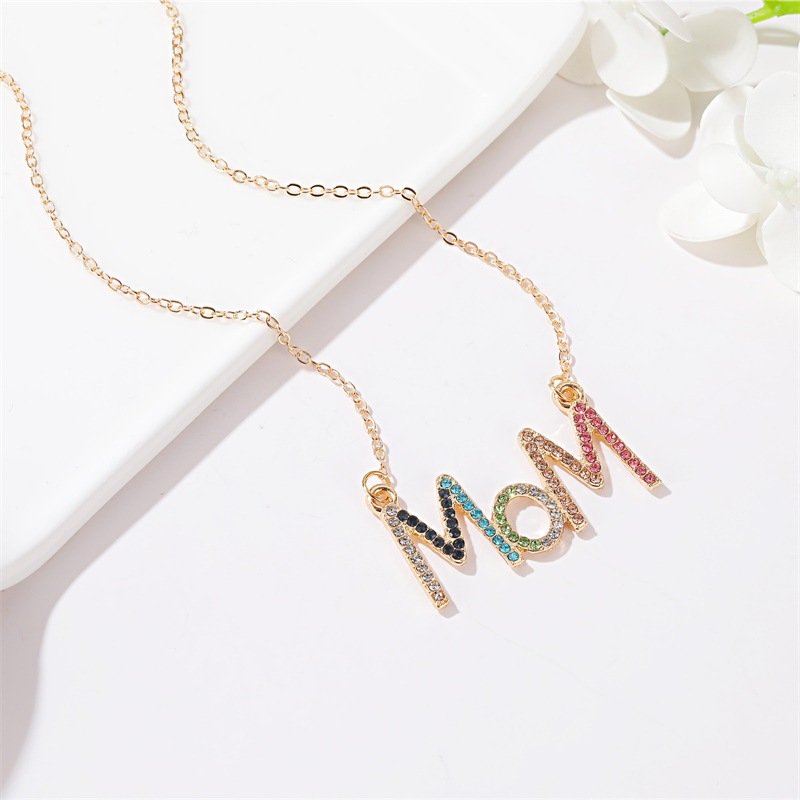 Mother39s Day New Fashion Diamond Diamond MOM Letter Necklace Simple Color Diamond Clavicle Chain Wholesale NHDP210749