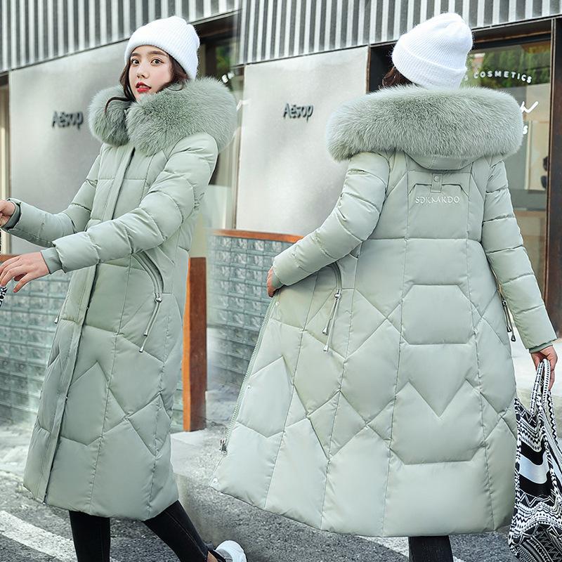 欧美冬新款时尚大码棉服女长款韩版收腰过膝加厚大毛领棉袄衣外套