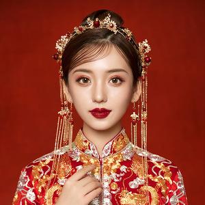 Bride Xiuhe dress headdress Chinese Xiuhe wedding phoenix crown step shake toast dress hair ornaments antique hairpin