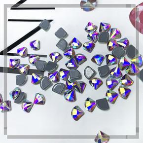 [flat bottom profiled drill] AB magic fan-shaped nail with glue flat bottom special-shaped diamond Latin dance evening dress water drill