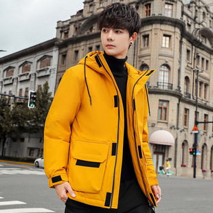 Hooded down jacket men's mid-length white duck down trendy tooling winter thick warm jacket Brilliance Youpin