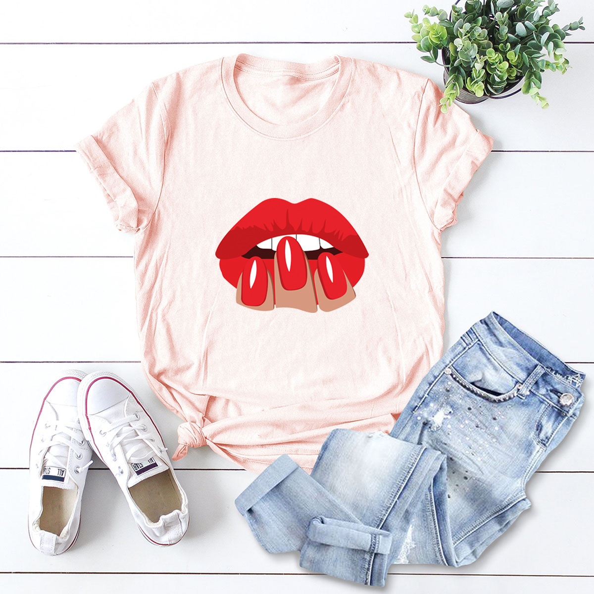 sexy red lips comfortable short-sleeved T-shirt NSSN1472