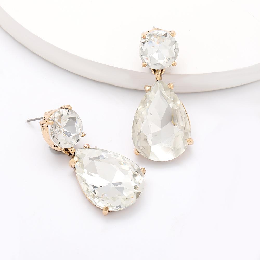 New fashion drop shaped alloy diamond glass earrings for women wholesale NHJE203507
