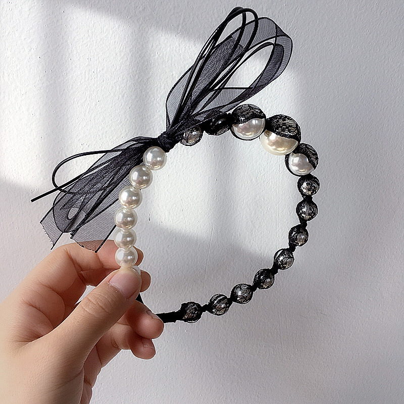 New retro style lace bag beads bow simple wild headband hair accessories NHHI206610