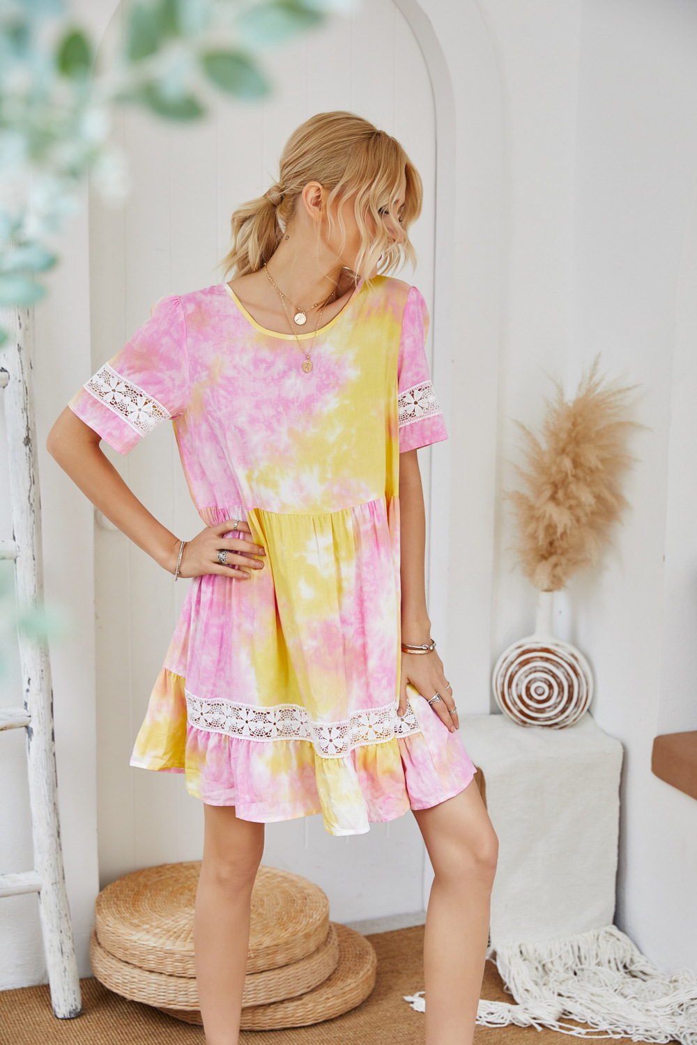 summer new style holiday style spring and summer basic irregular tie-dye wrinkled jacquard  NSDF508