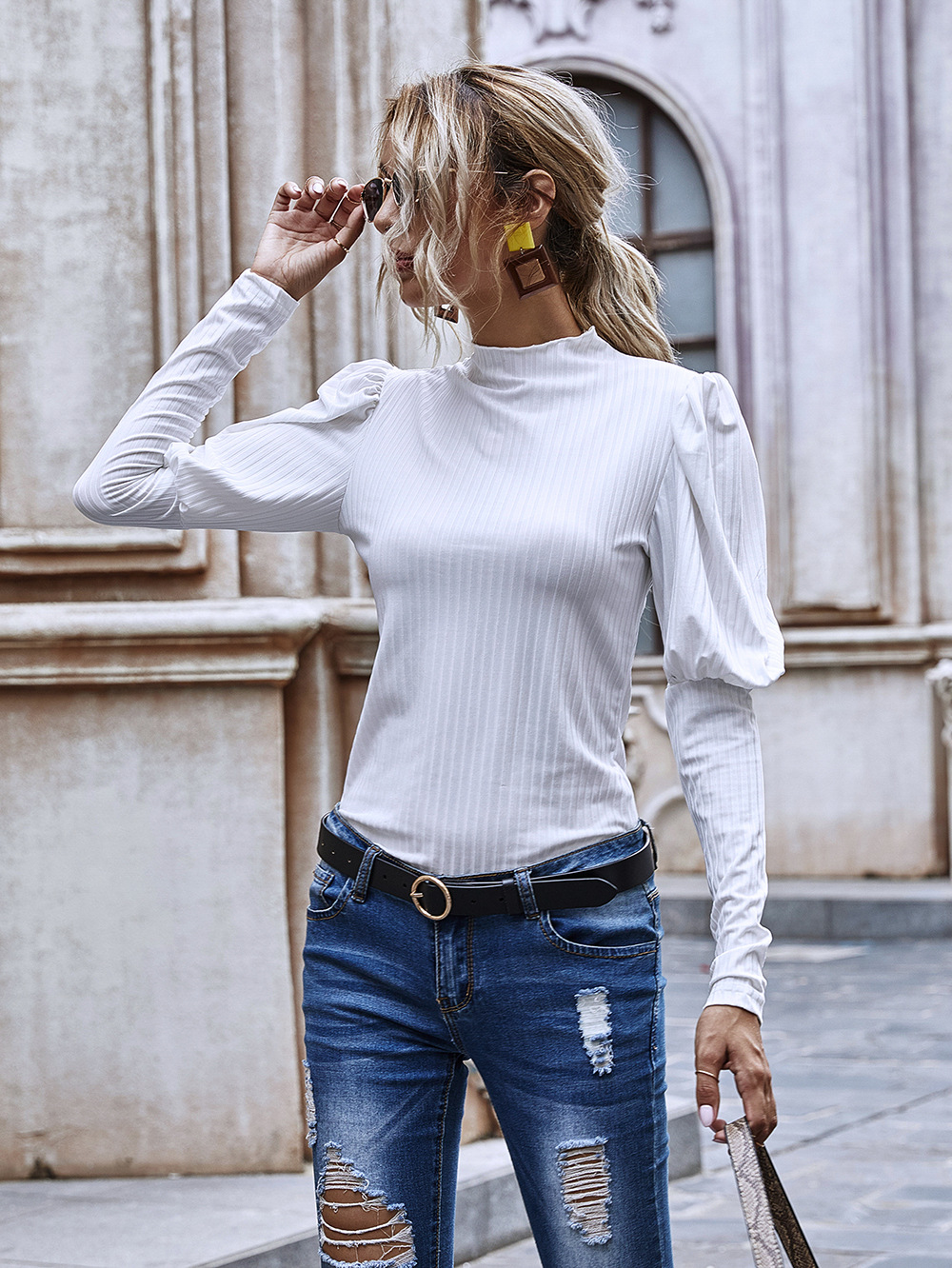 Fashion autumn new pleated sleeves high-necked slim-fit pit knit regular tops hot sale  NHDF246762