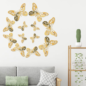 Metal texture 3D hollow simulation butterfly Wedding party shopping mall home decoration gold and silver butterfly wall stickers