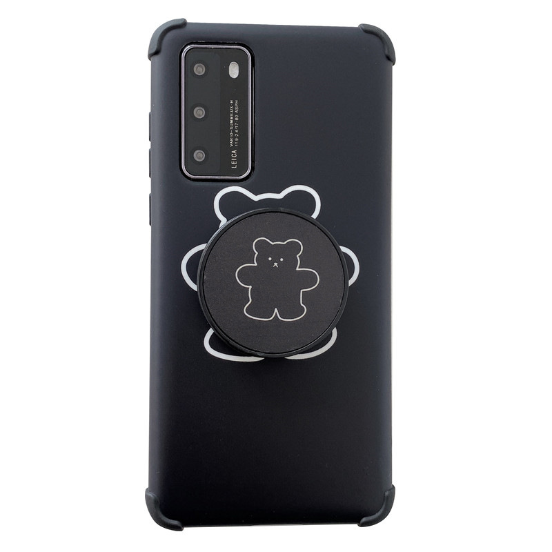 Cute cartoon bear bracket cover for iPhone11pro mobile phone shell silicone Huawei P40pro XR phone case wholesale NHFI218574