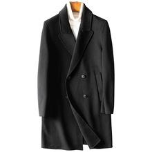 冬季新款中長款呢子大衣男毛呢大衣防風保暖男士羊毛外套19419