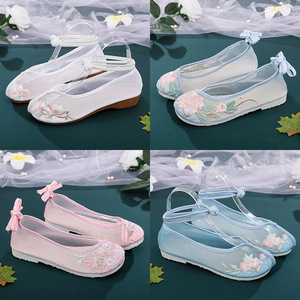 Gauze shoes, women Chinese folk dance hanfu embroidered shoes, Hanfu shoes, ancient flat heel breathable and antiskid net, hollow out Beijing shoes