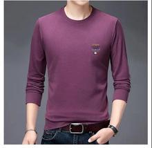 一件代发2020 春秋卫衣T恤薄双面绒长袖圆领打底衫男装外穿上衣
