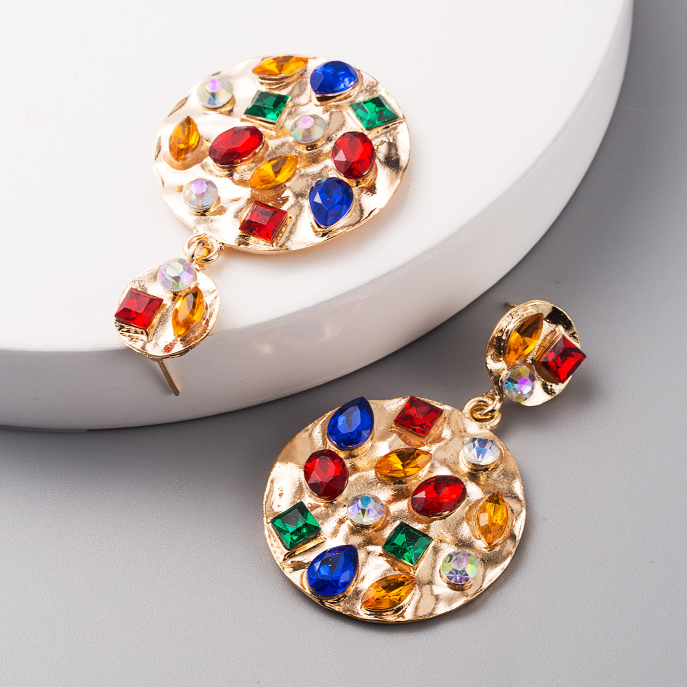 New exaggerated geometric round alloy inlaid color rhinestone earrings retro gold earrings wholesale NHLN209643