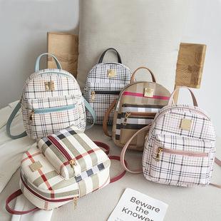Foreign trade handbags 2020 summer and autumn new Korean version of the trendy fashion plaid printing small backpack one-shoulder diagonal handbag