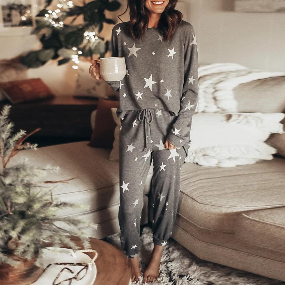Spring and summer 2020 new European and American home clothes leisure two-piece women's summer Amazon long sleeve pants home set