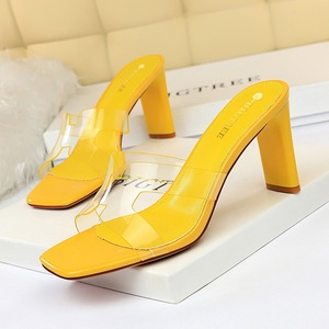 Han edition 1903-1 new summer cool slippers shoes daily thick with high with transparent hollow out peep-toe word slippe
