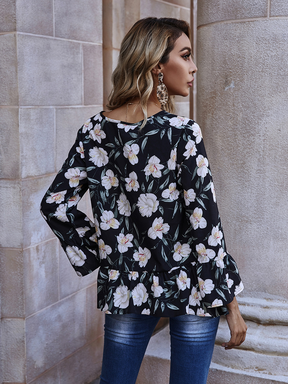 New  Women's Round Neck Chiffon Shirt Long Sleeve Printed Loose Top  NHDF281473