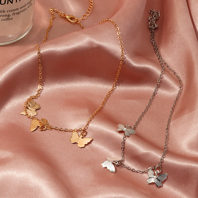 Fashion women's necklace wholesale new hot sale butterfly necklace simple alloy butterfly pendant clavicle chain women NHNZ200418